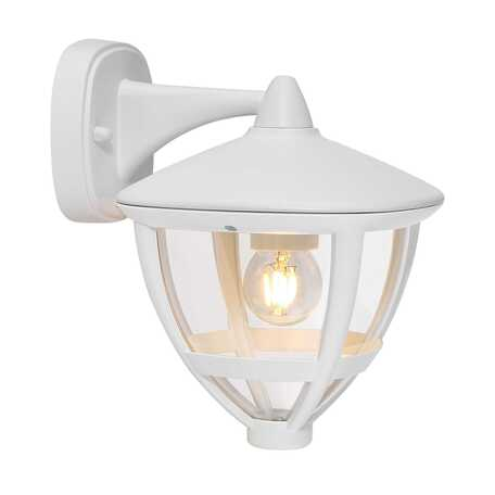 Настенный фонарь Globo Nollo 31990, IP44, 1xE27x40W, белый, прозрачный, металл, пластик