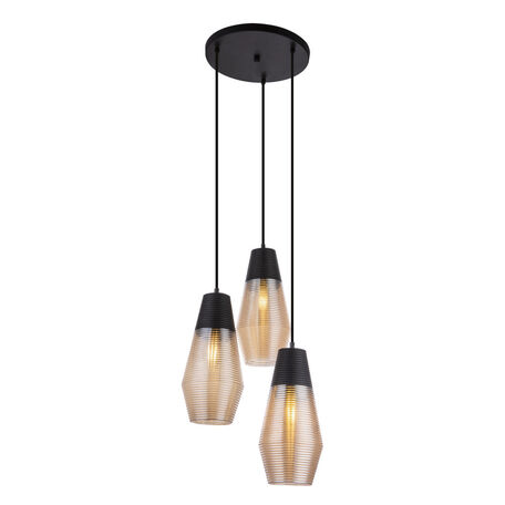 Подвесной светильник Globo Wayne 15043-3, 3xE27x60W, черный, коньячный, металл, стекло
