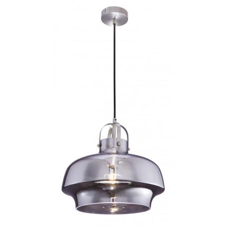Подвесной светильник Globo Aegon 15312S, 1xE27x60W, никель, дымчатый, металл, стекло