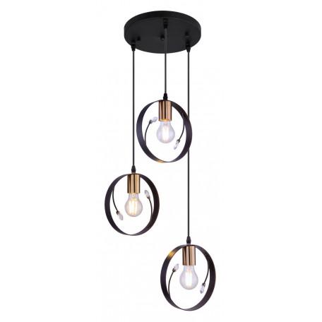 Подвесной светильник Globo Vigo 15346-3, 3xE27x60W, черный с бронзой, черный, металл