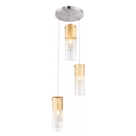 Подвесной светильник Globo Wemmo 15908-3G, 3xE27x60W, никель, матовое золото, прозрачный, металл, стекло с пластиком, стекло