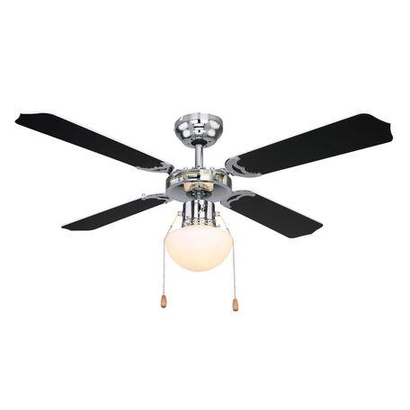 Потолочный светильник-вентилятор Globo Champion 0309CSW, 1xE27x60W, хром, белый, металл, стекло