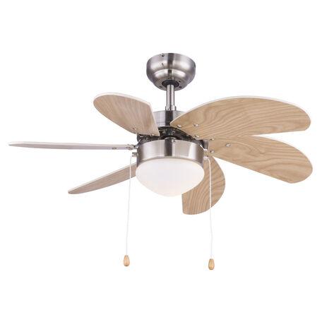 Потолочный светильник-вентилятор Globo Rivaldo 03301, 1xE14x60W, никель, белый, металл, пластик