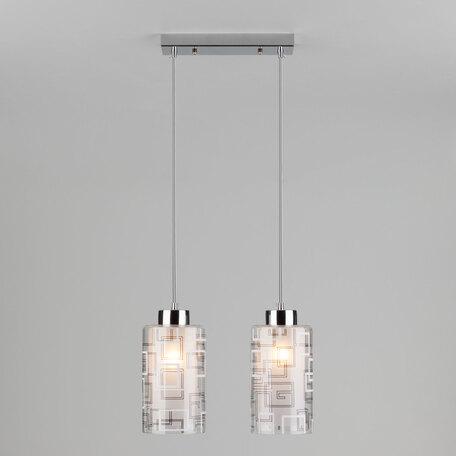 Подвесной светильник Eurosvet Stella 50002/2 хром, 2xE27x60W, хром, белый, прозрачный, металл, стекло