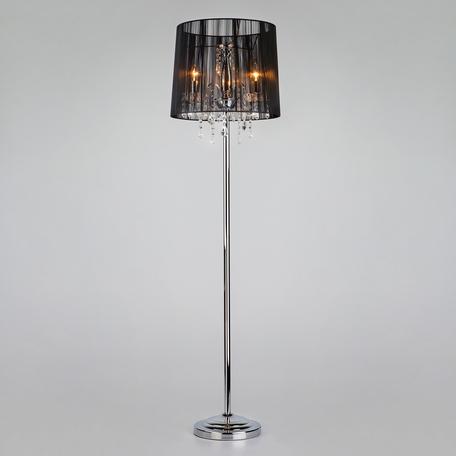 Торшер Eurosvet Allata 2045/3F хром/черный торшер, 3xE14x60W, хром, черный, прозрачный, металл со стеклом/хрусталем, текстиль, хрусталь