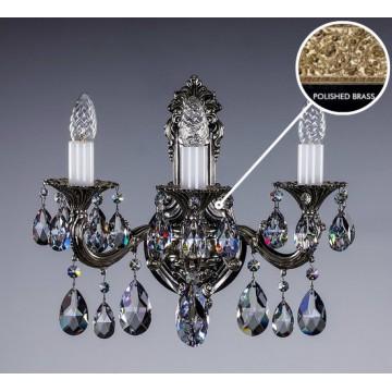 Бра Artglass SARKA III. POLISHED CE, 3xE14x40W, белый с золотом, прозрачный, металл, хрусталь Artglass Crystal Exclusive