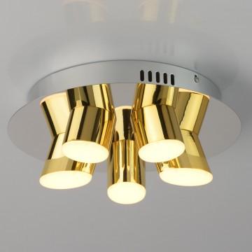 Потолочная светодиодная люстра De Markt Фленсбург 609013505, LED 20W 3200K, хром, золото, металл, пластик
