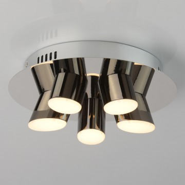 Потолочная светодиодная люстра De Markt Фленсбург 609013605, LED 20W 3200K, хром, черный хром, металл, пластик