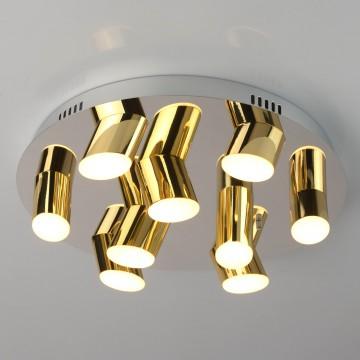 Потолочная светодиодная люстра De Markt Фленсбург 609013709, LED 36W 3200K, хром, золото, металл, пластик