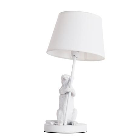 Настольная лампа Arte Lamp Gustav A4420LT-1WH, 1xE14x40W, белый, пластик, текстиль