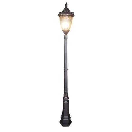 Уличный фонарь L'Arte Luce Michigan L79097.12, IP44, 3xE14x60W, коричневый, прозрачный, металл, стекло