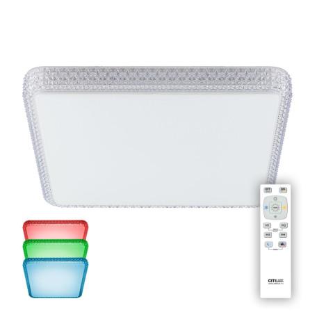 Потолочный светодиодный светильник с пультом ДУ Citilux Альпина CL718K100RGB, IP43, LED 100W 3000-4200K + RGB 6500lm, белый, металл, пластик