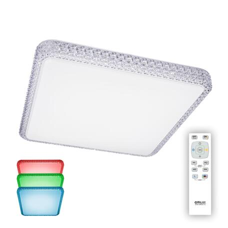 Потолочный светодиодный светильник с пультом ДУ Citilux Альпина CL718K80RGB, LED 80W 3000-4200K + RGB 5200lm, белый, металл, пластик