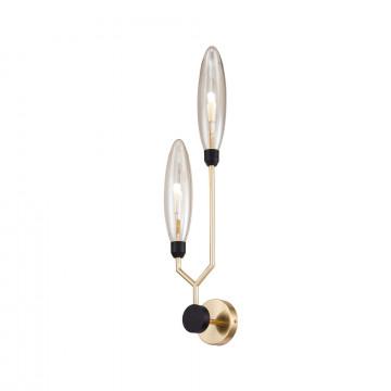 Бра Maytoni Ventura MOD012WL-02G, 2xG9x28W, матовое золото, черный, янтарь, металл, стекло