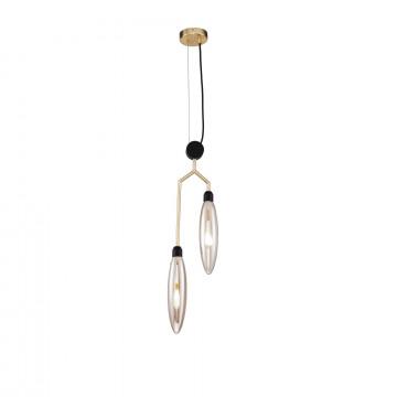 Подвесной светильник Maytoni Ventura MOD012PL-02G, 2xG9x28W, матовое золото, черный, янтарь, металл, стекло
