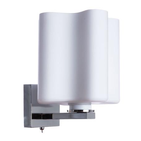 Бра Arte Lamp Serenata A3479AP-1CC, 1xE27x40W, хром, белый, металл, стекло