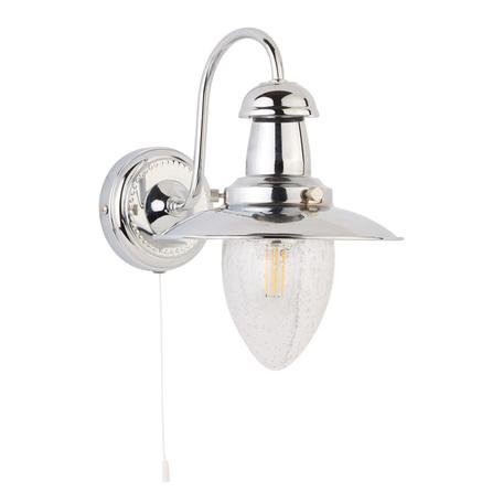 Бра Arte Lamp Fisherman A5518AP-1CC, 1xE27x60W, хром, прозрачный, металл, металл со стеклом