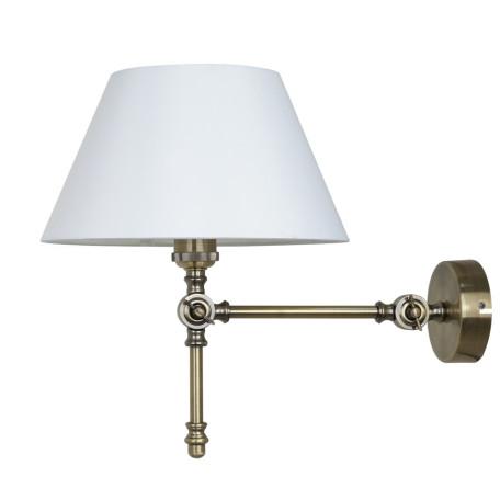 Бра Arte Lamp Orlando A5620AP-1AB, 1xE27x60W, бронза, белый, металл, текстиль