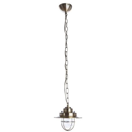 Подвесной светильник Arte Lamp Lanterna A4579SP-1AB, 1xE27x60W, бронза, прозрачный, металл, металл со стеклом