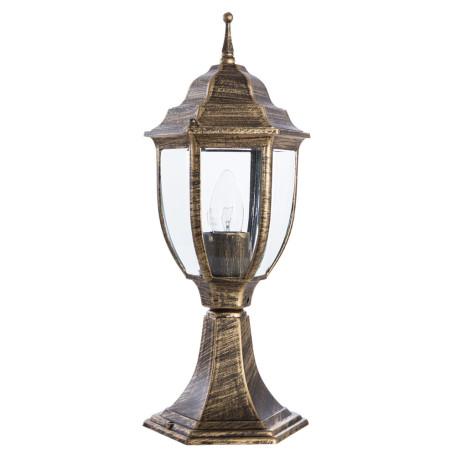 Садово-парковый светильник Arte Lamp Pegasus A3151FN-1BN, IP54, 1xE27x60W, черненое золото, прозрачный, черный с золотой патиной, металл, металл со стеклом