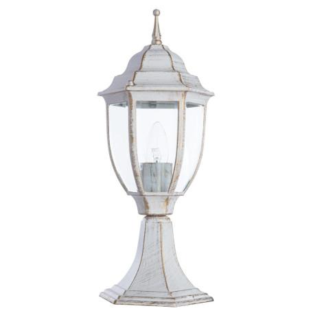 Садово-парковый светильник Arte Lamp Pegasus A3151FN-1WG, IP54, 1xE27x60W, белый с золотой патиной, прозрачный, металл, металл со стеклом