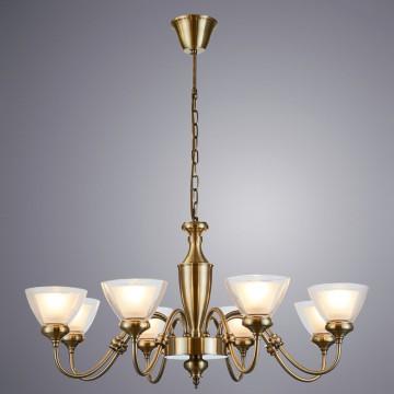 Подвесная люстра Arte Lamp TOSCANA A5184LM-8AB, 8xE14x40W, бронза, прозрачный, белый, металл, стекло