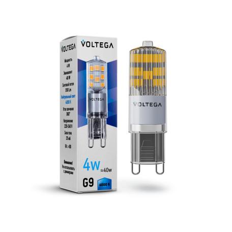 Светодиодная лампа Voltega Simple 7125 капсульная G9 4W, 4000K (дневной) 220V, гарантия 2 года
