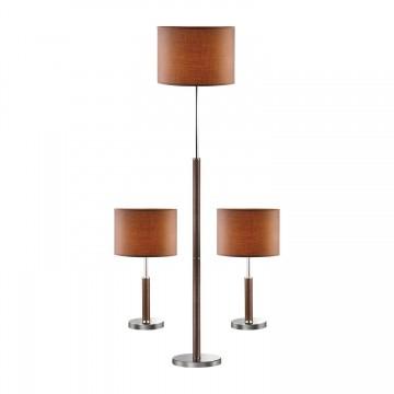 Комплект из торшера и двух настольных ламп Favourite Super-set 1427-SET SALE, коричневый, хром, кожа/кожзам, металл, текстиль