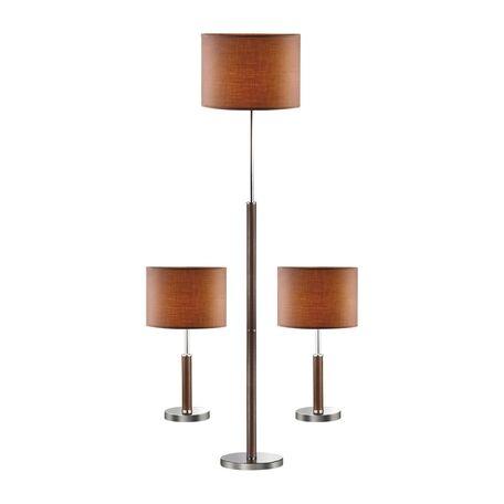 Комплект из торшера и двух настольных ламп Favourite Super-set 1427-SET SALE, 1, коричневый, хром, кожа/кожзам, текстиль
