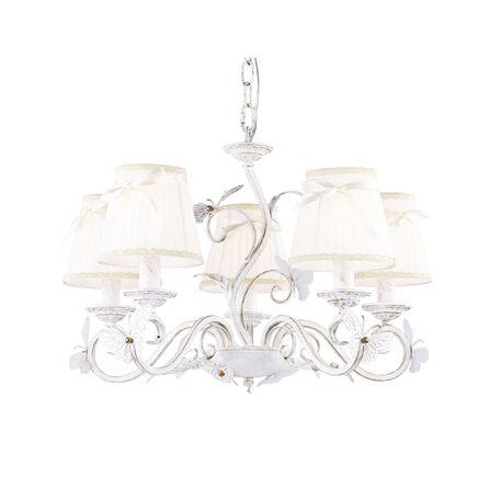 Подвесная люстра Favourite Mariposa 1839-5P SALE, 5xE14x40W, белый с золотой патиной, белый, металл, текстиль