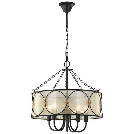 Потолочно-подвесная люстра Favourite Dubai 1579-5PC SALE, 5xE14x40W, коричневый, матовое золото, янтарь, металл, текстиль