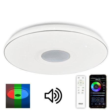 Музыкальный потолочный светодиодный светильник с пультом ДУ Citilux Light & Music CL703M100, LED 100W 3000-4000K + RGB 7700lm, белый, пластик