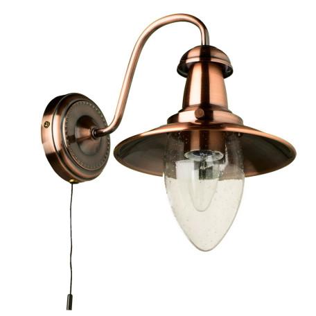 Бра Arte Lamp Fisherman A5518AP-1RB, 1xE27x60W, медь, прозрачный, металл, стекло