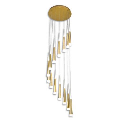 Светодиодная люстра-каскад Citilux Вегас CL227142, LED 98W 3000K 6370lm, золото, матовое золото, металл, металл с пластиком