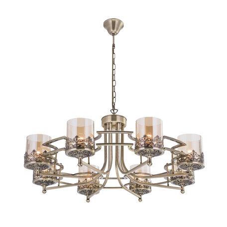 Потолочно-подвесная люстра Citilux Ориент CL464183, 8xE27x75W, бронза, янтарь, металл, стекло