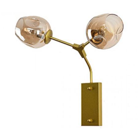 Бра Kink Light Нисса 07512-2,33, 2xE27x40W, золото, янтарь, металл, стекло