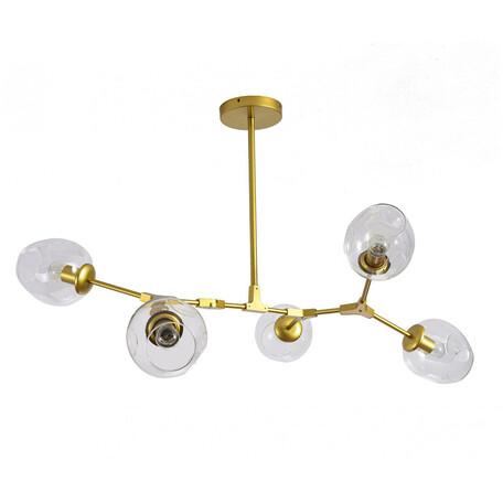 Люстра на составной штанге Kink Light Нисса 07512-5,33(21), 5xE27x40W, золото, янтарь, металл, стекло