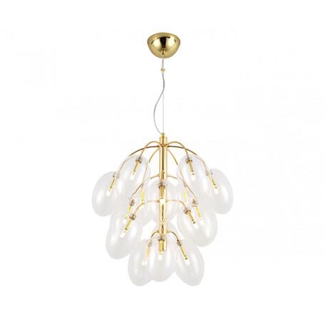 Подвесная люстра Kink Light Амос 07654-15, 15xG4x3W, золото, прозрачный, металл, стекло