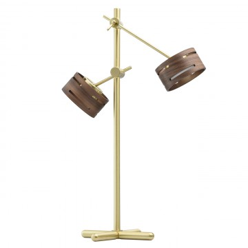 Настольная светодиодная лампа De Markt Чил-аут 725030602, LED 10W 3000K 1000lm, матовое золото, венге, металл, дерево, пластик