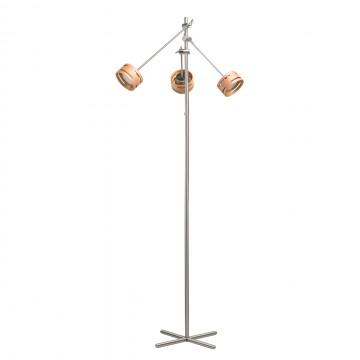 Светодиодный торшер De Markt Чил-аут 725040703, LED 15W 3000K 1500lm, никель, коричневый, металл, дерево, пластик