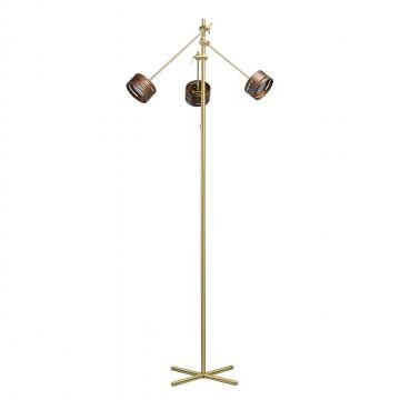 Светодиодный торшер De Markt Чил-аут 725040803, LED 15W 3000K 1500lm, матовое золото, венге, металл, дерево, пластик