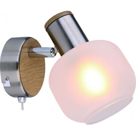 Бра с регулировкой направления света Globo Loggi 54302-1, 1xE14x40W, никель, коричневый, белый, металл, стекло