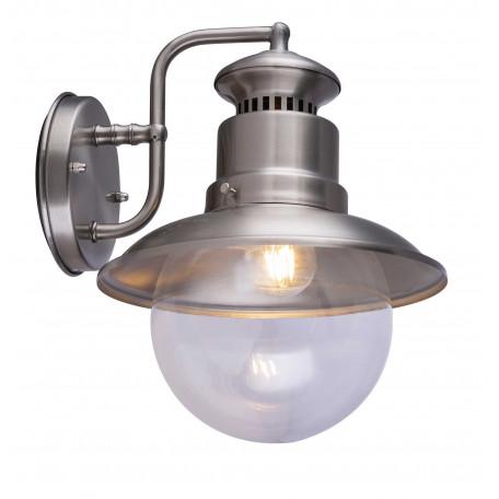 Настенный фонарь Globo Sella 3272S, IP44, 1xE27x60W, никель, прозрачный, металл, металл со стеклом