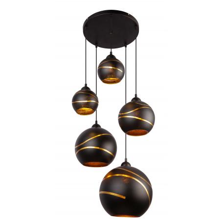 Подвесной светильник Globo Lommy 54005-5H, 5xE27x60W, черный, черный с золотом, металл, стекло