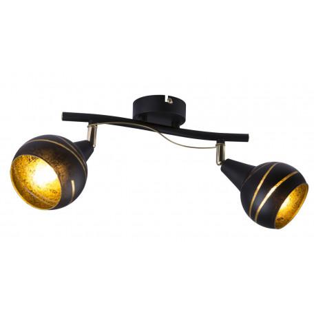 Потолочный светильник с регулировкой направления света Globo Lommy 54005-2, 2xE14x40W, черный, черный с золотом, металл, стекло