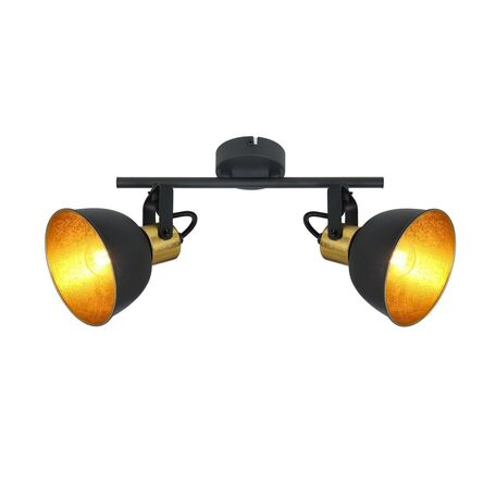 Потолочный светильник с регулировкой направления света Globo Fillo 54655-2, 2xE14x25W, черный, черный с золотом, металл