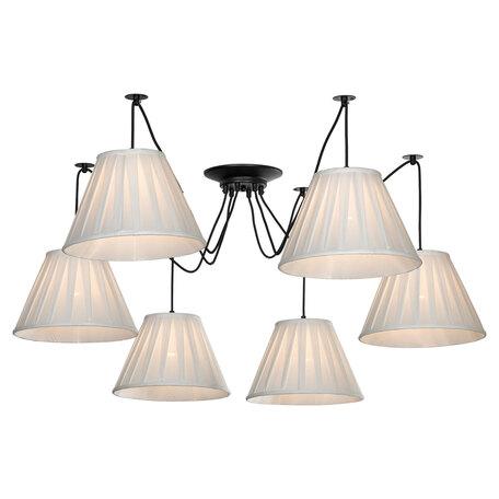 Светильник Lussole LGO Shirley LSP-8437, IP21, 6xE27x60W, черный, белый, металл, текстиль