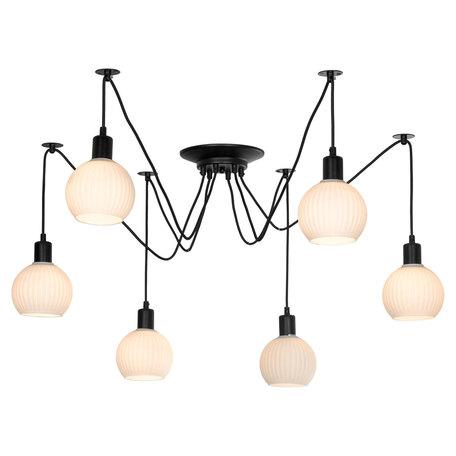 Светильник Lussole LGO Shirley LSP-8439, IP21, 6xE27x60W, черный, белый, металл, стекло