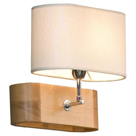 Светильник Lussole Nulvi LSF-2111-01V, IP21, 1xE27x60W, коричневый с хромом, белый, дерево с металлом, текстиль