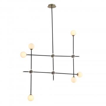 Потолочная люстра с регулировкой направления света ST Luce Bastoncino SL429.403.06, 6xG9x40W, черный, белый, металл, стекло